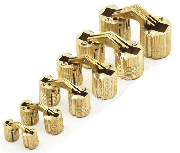 Brass cylindrical barrel concealed invisible hinge for for Hidden hinges